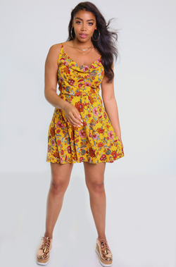 Mustard Cowl Neck Skater Mini Dress plus sizes