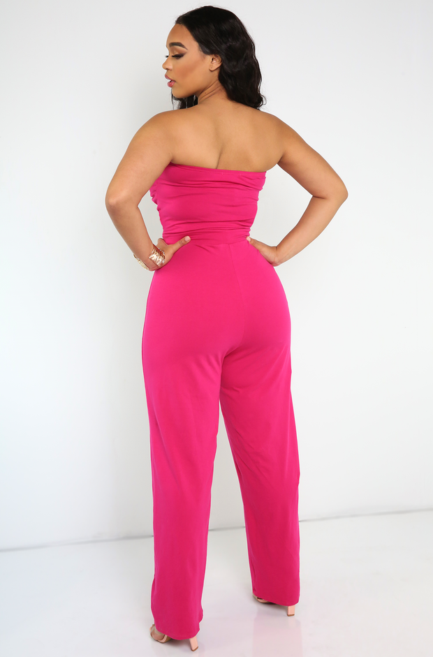 Fuchsia Sweetheart Style Jumpsuit Plus Sizes