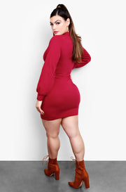 Burgundy Turtleneck Bodycon Mini Dress