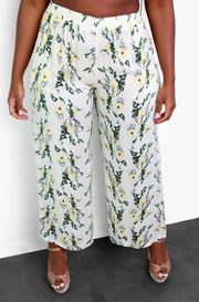 Light Green Floral Wide Leg Pants Plus Sizes