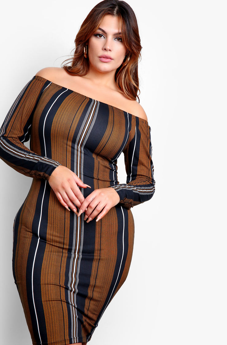Black  Striped Over The Shoulder Mini Dress