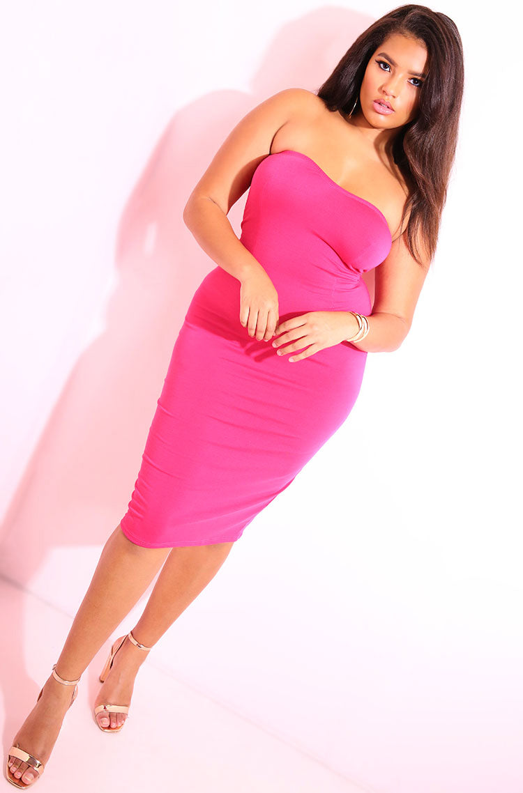 Fuchsia Strapless Midi Dress plus sizes