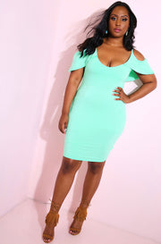 Mint Ruffled Bodycon Mini Dress plus sizes