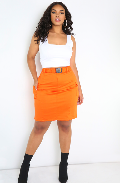 Orange Buckled Cargo Skirt Plus Sizes