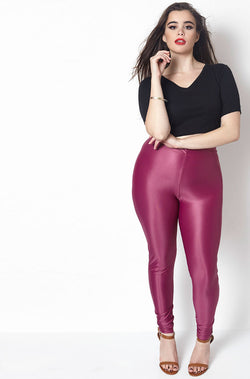 Purple High Waist Legging Plus Sizes