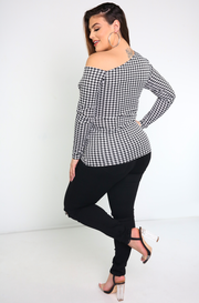 houndstooth asymmetrical top plus sizes
