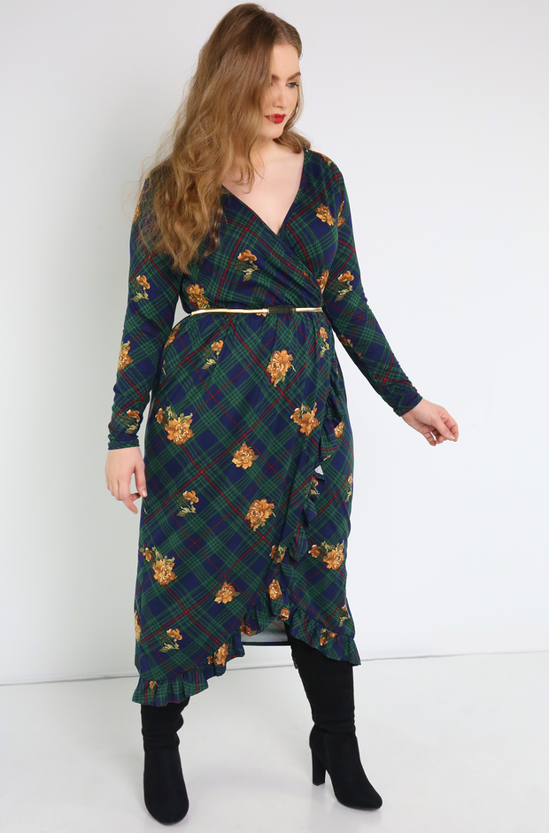 Hunter Green Ruffled Faux Wrap Midi Dress Plus Sizes