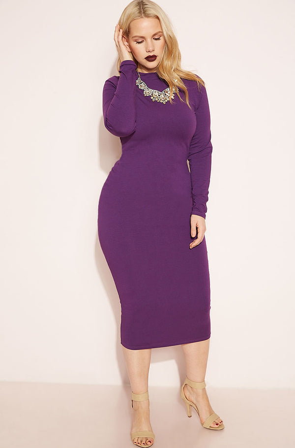 Purple Crew Neck Midi Dress plus sizes