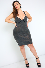 Black Studded Bodycon Mini Dress Plus Sizes