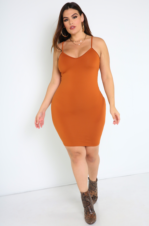 Rust Red V-Neck Mini Dress Plus Sizes