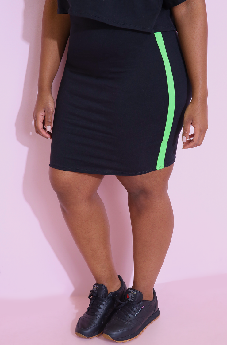 Black Striped Mini Skirt Plus Sizes