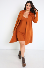 Rust Red Long Sleeve Cardigan Plus Sizes