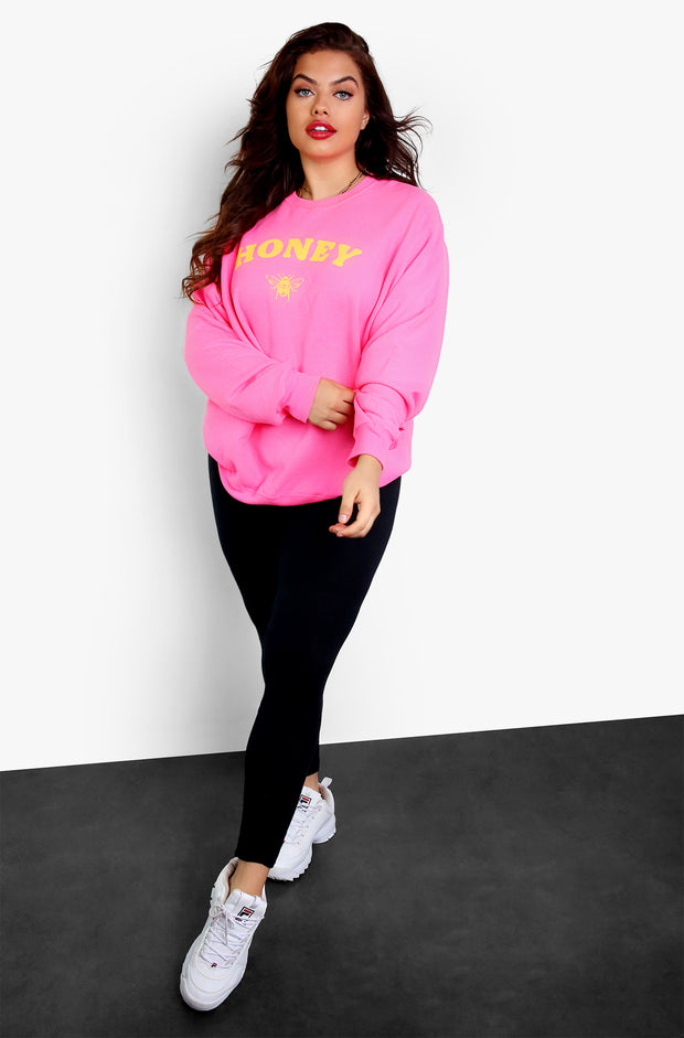 Neon Coral Long Sleeve Graphic Sweatshirt Plus Sizes