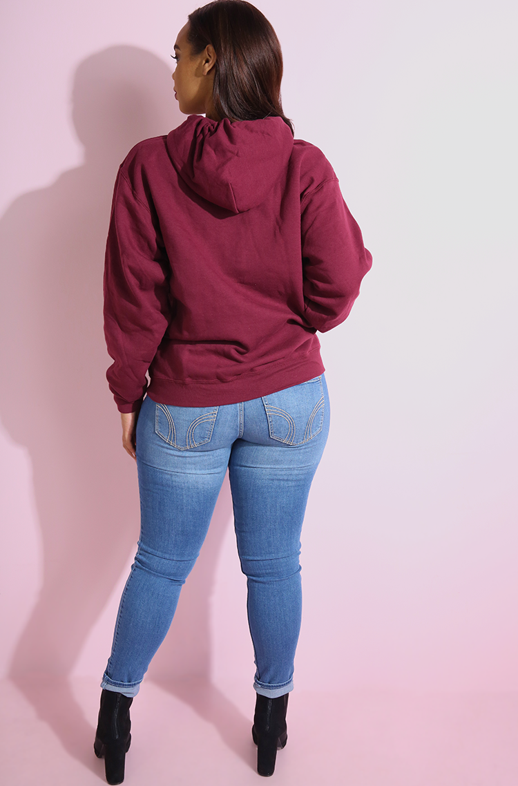 Burgundy Hoodie plus sizes