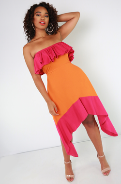 Orange Two Tone Skater Dress Plus Sizes