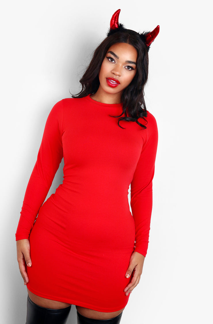 Red Essential Crewneck Long Sleeve Mini Dress Plus Sizes