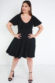 Black Flutter Sleeves Skater Mini Dress Plus Sizes