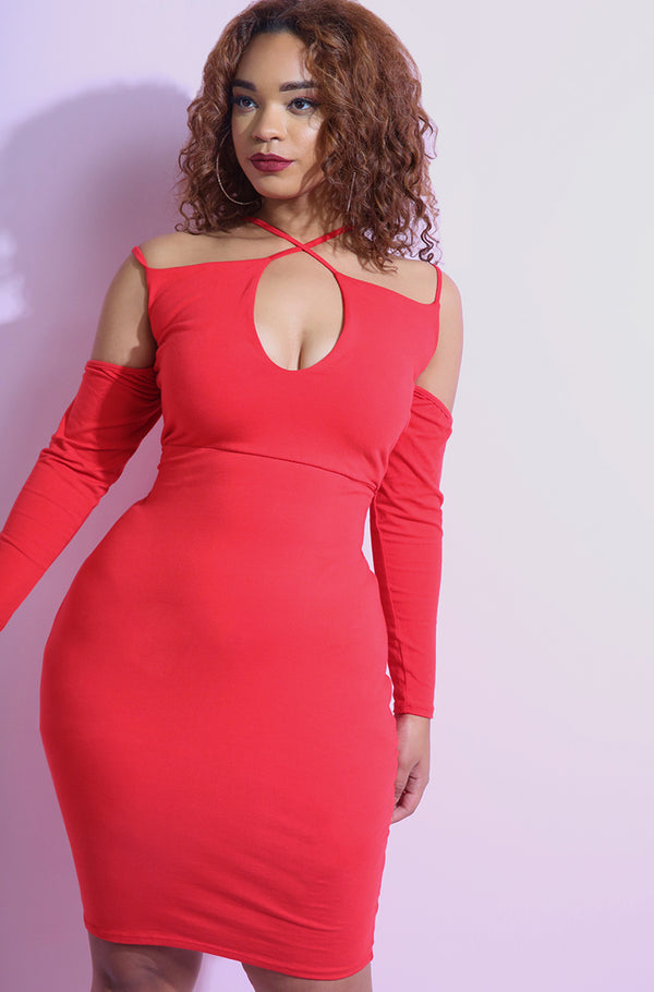 Red Caged Mini Dress with detached sleeves plus sizes