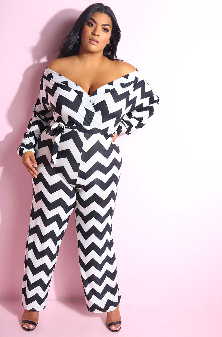 Black Chevron print over the shoulder wide leg jumpsuit plus sizes
