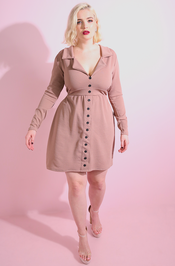 Brown Button Down A-Line Mini Dress plus sizes