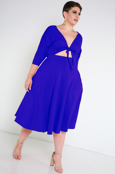 Royal Blue Front Tied Skater Dress plus sizes