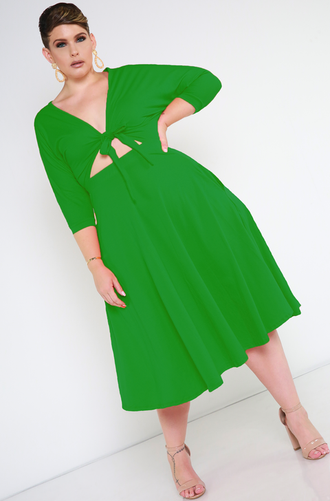 Green Front Tied Skater Dress plus sizes