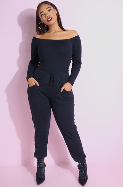 Black Over The Shoulder sporty style jogger Jumpsuit plus sizes