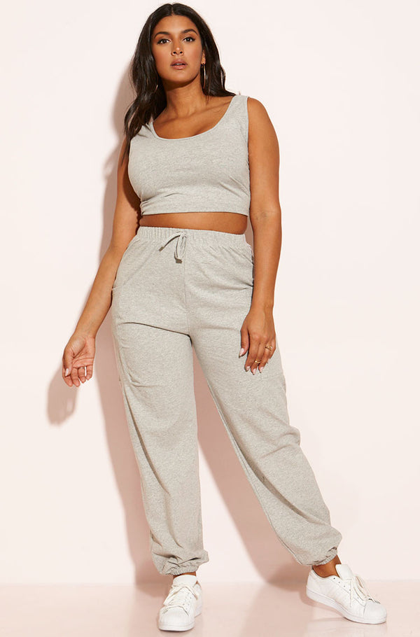 Gray Two Piece Jogger Set plus sizes