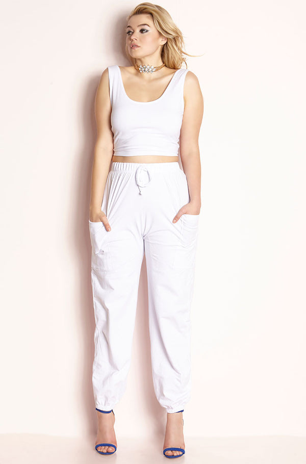 White Two Piece Jogger Set plus sizes