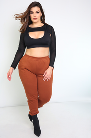 Black  Mesh Long Sleeve Sports Bra Plus Sizes