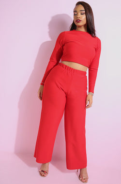 Red Spandex Wide Leg Pants plus sizes