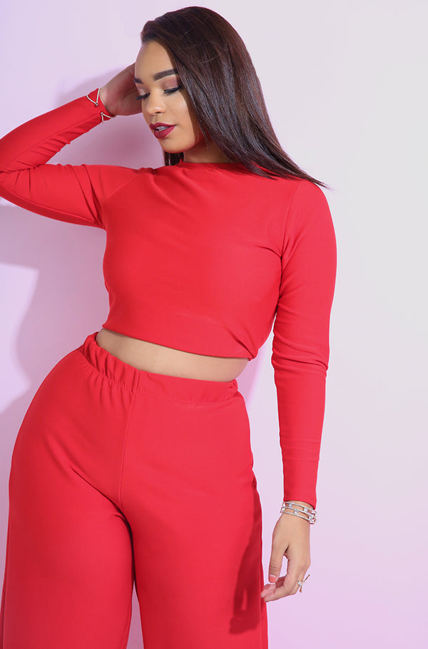Red high neck Spandex Crop Top plus sizes