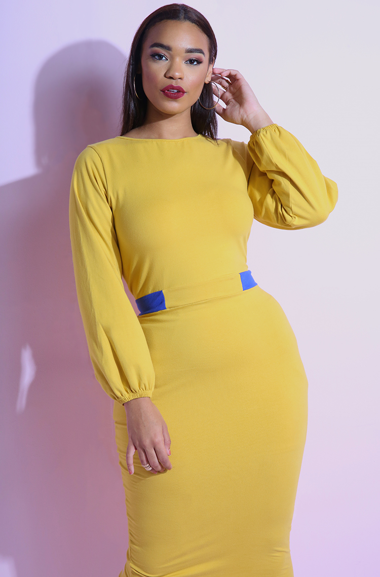Mustard Two Tone Belted Puff Sleeve Bodycon Midi Dress plus sizes