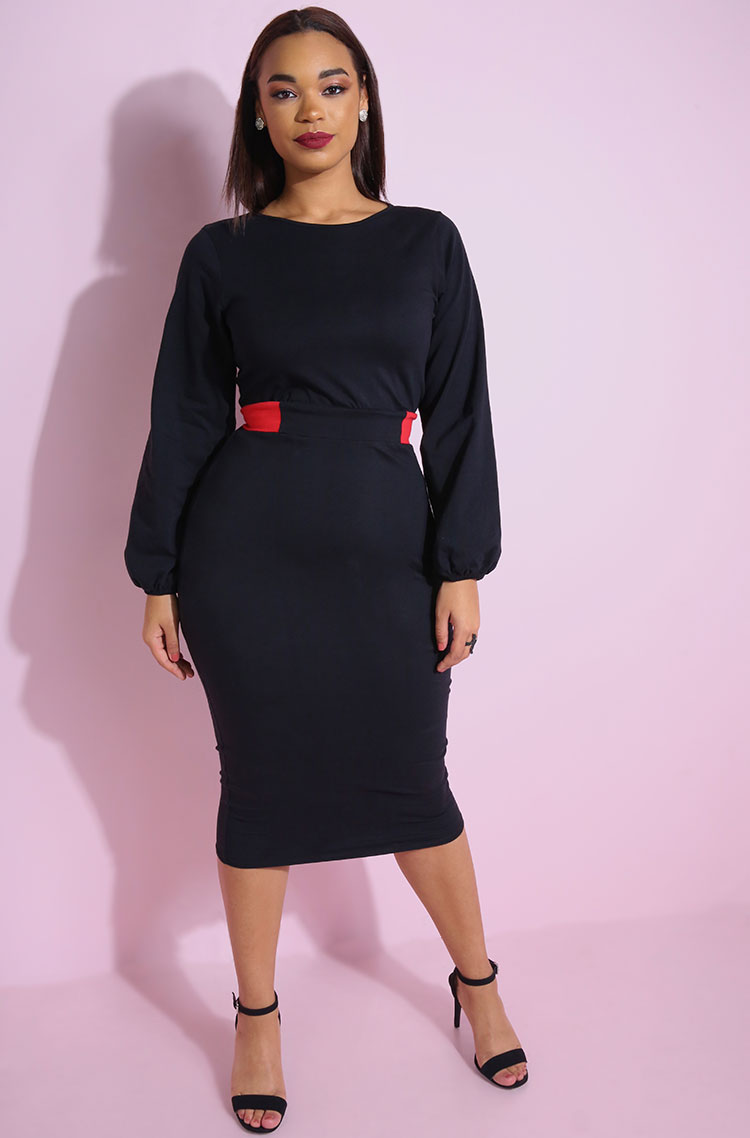 Black Two Tone Belted Puff Sleeve Bodycon Midi Dress plus sizes