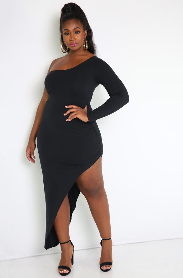 Black One Shoulder Asymmetrical Bodycon Maxi Dress Plus Sizes