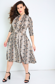 Khaki 3/4 Sleeve Midi Skater Dress Plus Sizes
