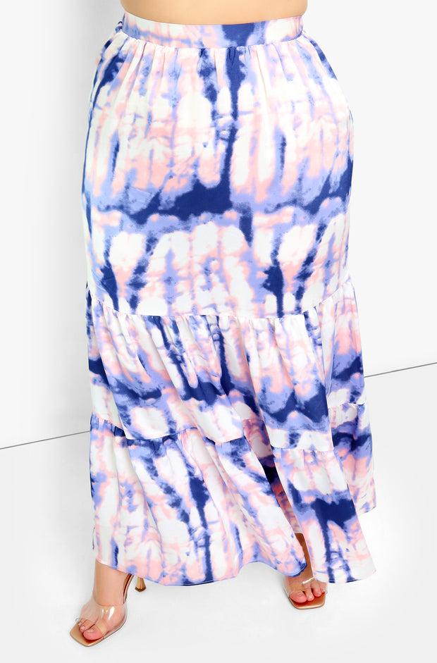Navy Blue Tie Dye Maxi Skirt Plus Sizes