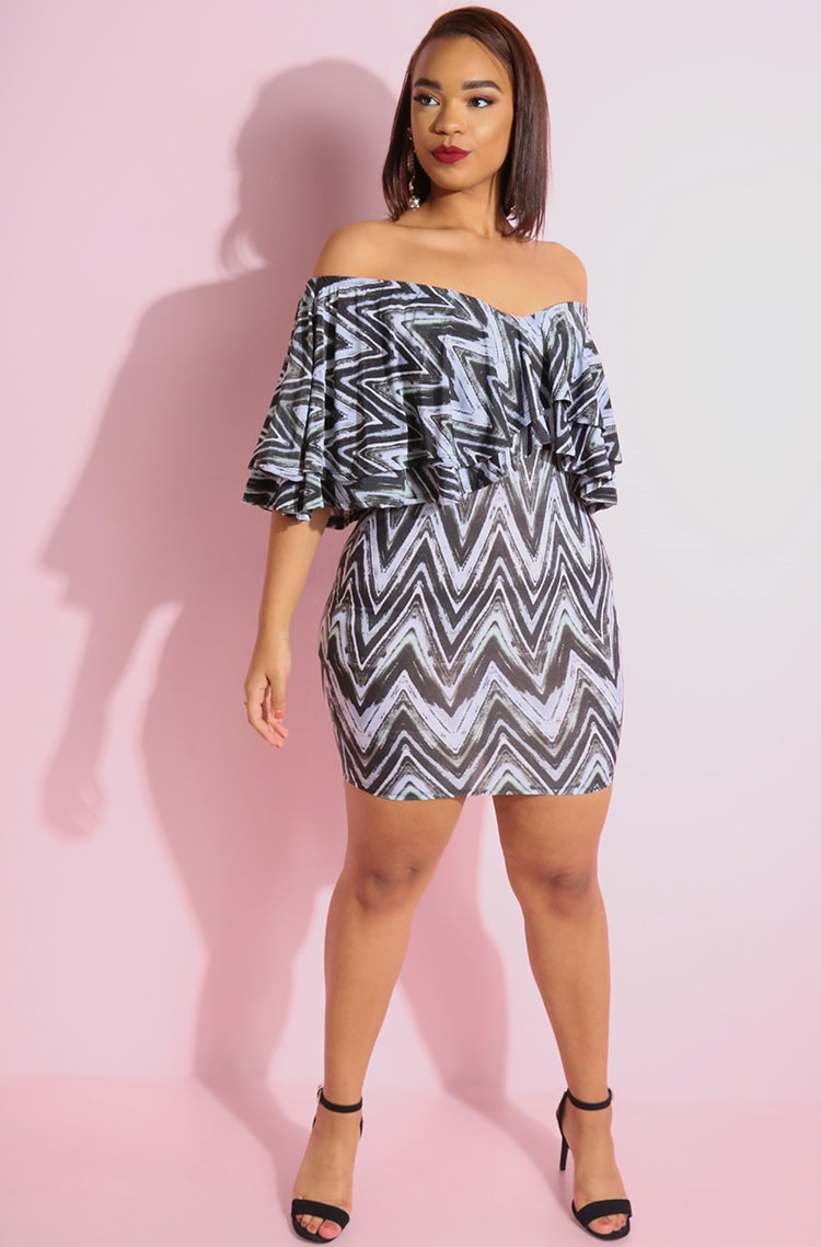 Gray Chevron Print Ruffled Bodycon Mini Dress plus sizes