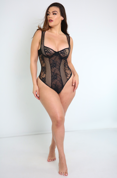 Black Lace Bodysuit Plus Sizes