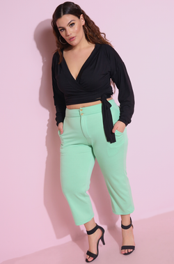 Mint Green Cigarette Pants Plus Sizes