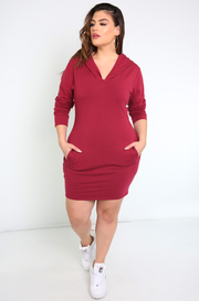 Burgundy Long Sleeve Mini Dress With Hoodie Plus Sizes