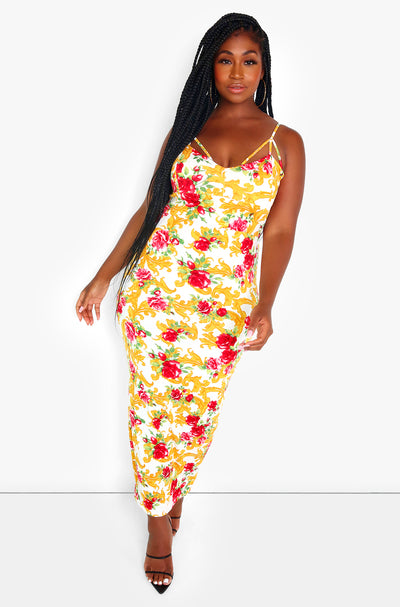 White Floral Caged Bodycon Maxi Dress Plus Sizes