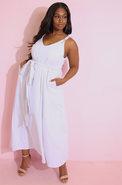 White Belted Maxi Dress Plus Sizes