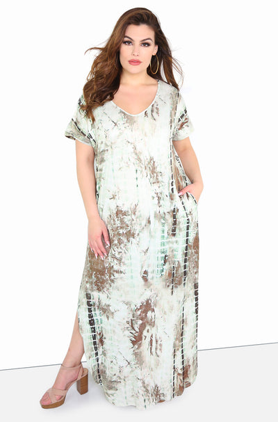 Olive Tie Dye V-Neck Maxi Dress Plus Sizes