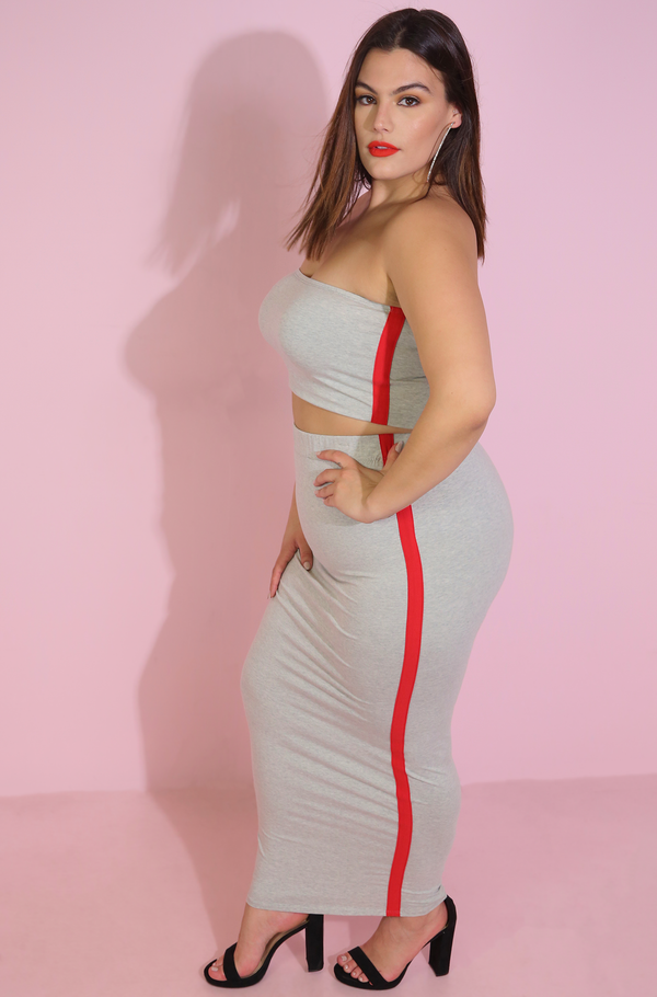 Gray Stripe Tube Top & Bodycon Maxi Skirt Set Plus Sizes Sporty Set