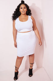 White Bodycon Mini Skirt plus sizes