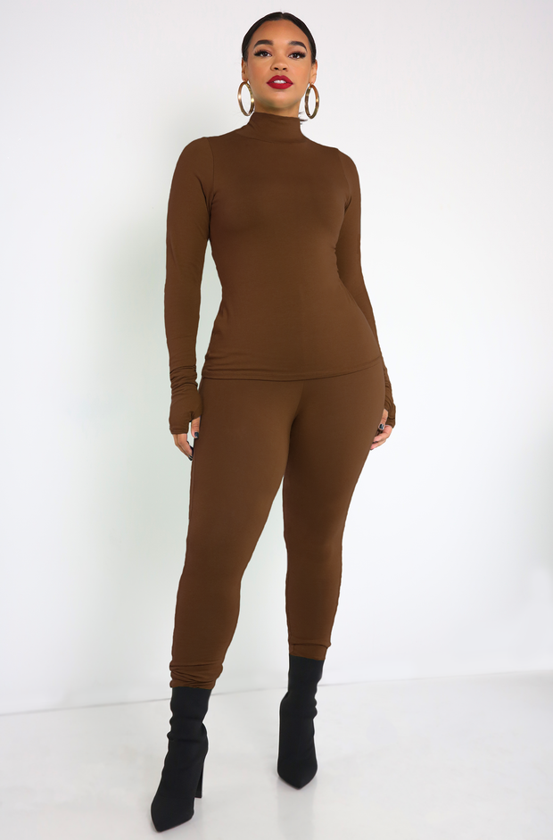 Brown Thumbhole Turtleneck Top Plus Sizes