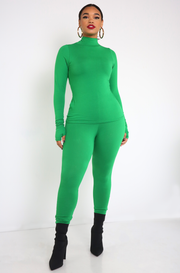 Green Thumbhole Turtleneck Top Plus Sizes