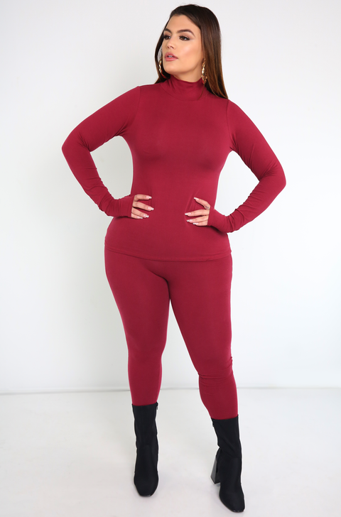 Burgundy Thumbhole Turtleneck Top Plus Sizes