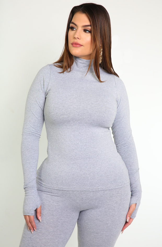 Gray Thumbhole Turtleneck Top Plus Sizes